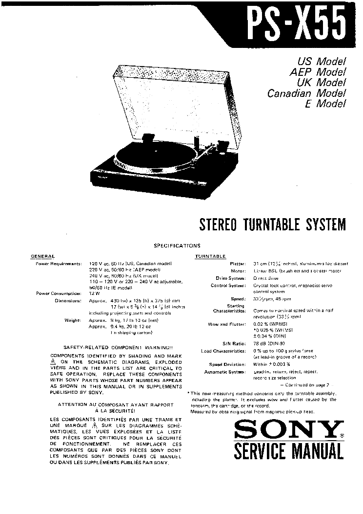 SONY PS-X55 SM Service Manual download, schematics, eeprom