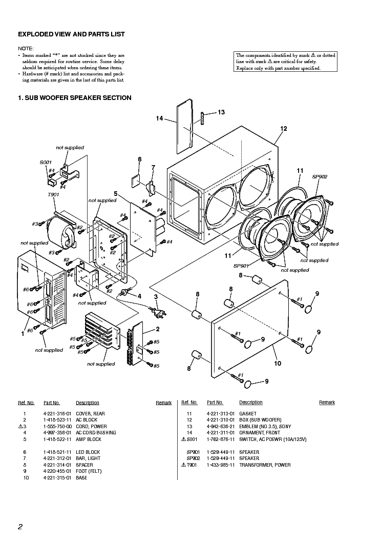 SONY SA-CSD1 Service Manual download, schematics, eeprom