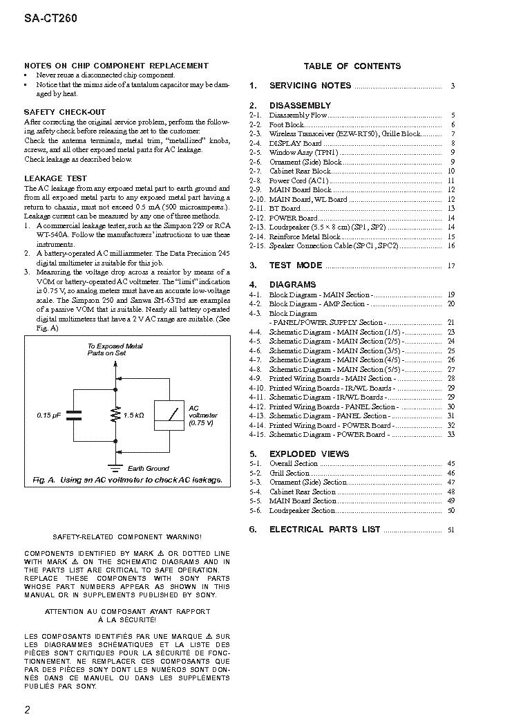 SONY SA-CT260 VER 1.0 Service Manual download, schematics