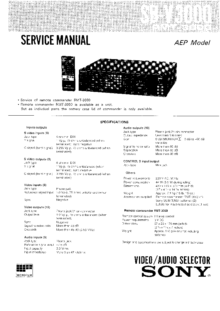SONY SBV3000 Service Manual download, schematics, eeprom