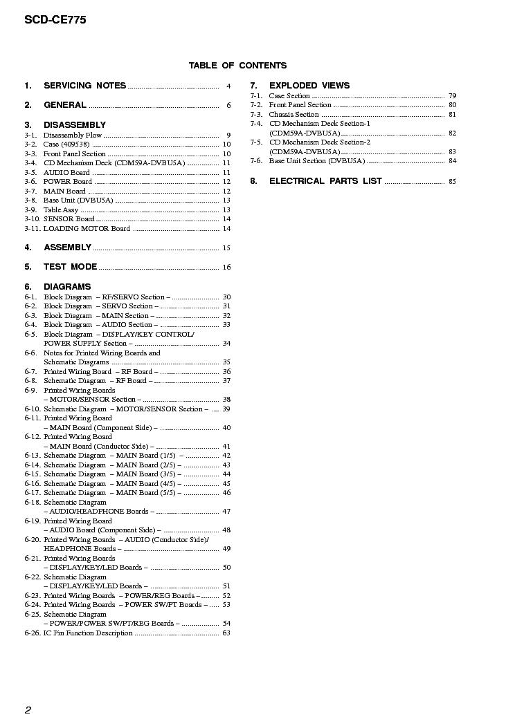 SONY SCD-CE775 Service Manual download, schematics, eeprom