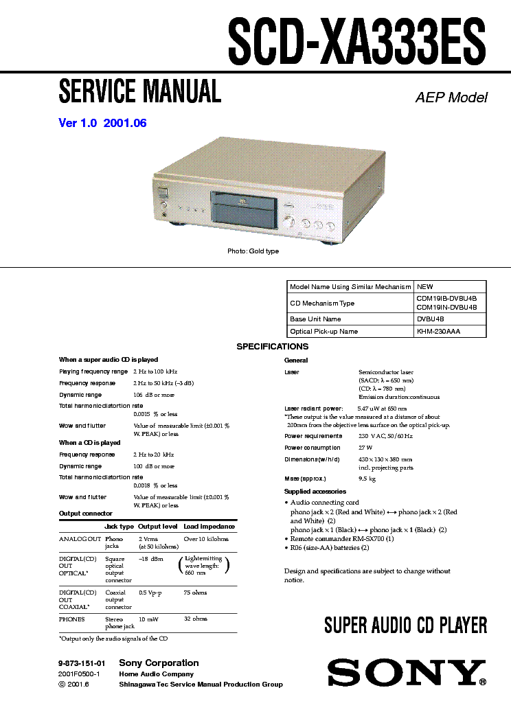SONY SCD-XA333ES Service Manual download, schematics