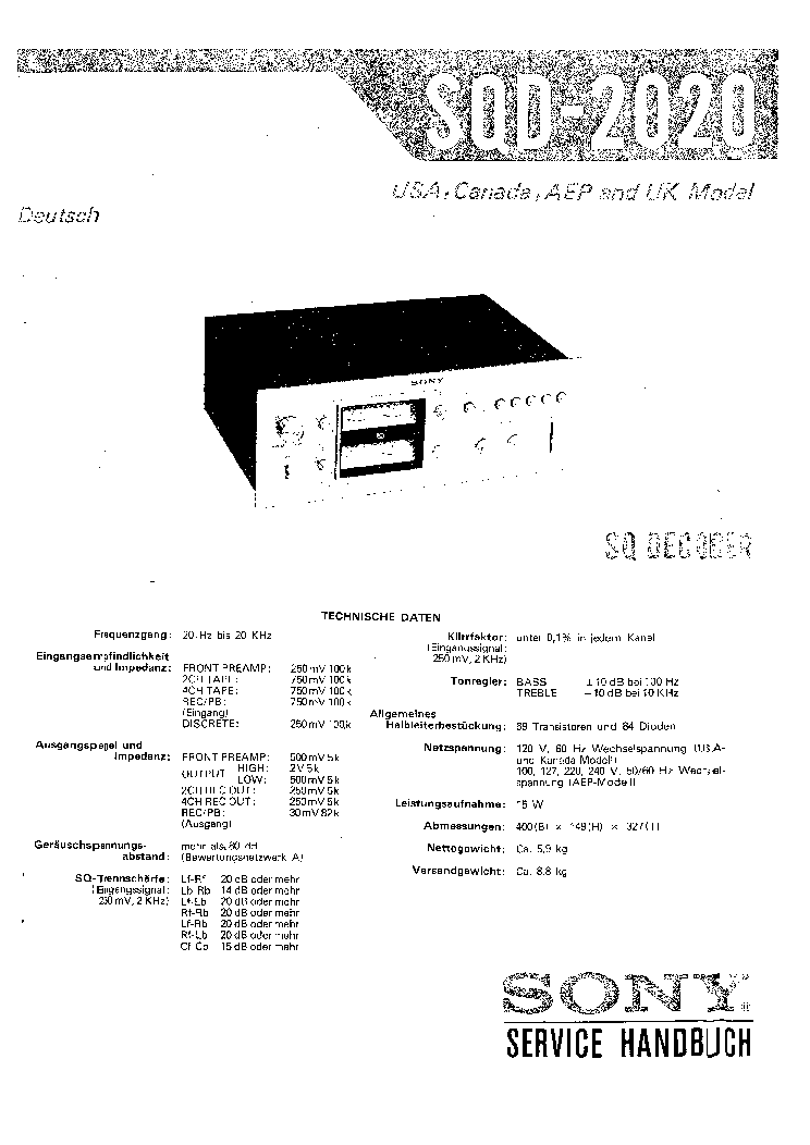 SONY SQD-2020 DE Service Manual download, schematics