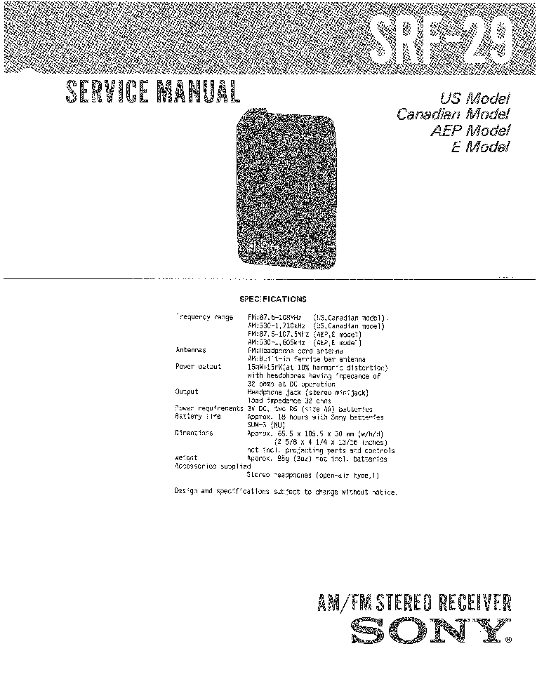 SONY SRF-29 Service Manual download, schematics, eeprom