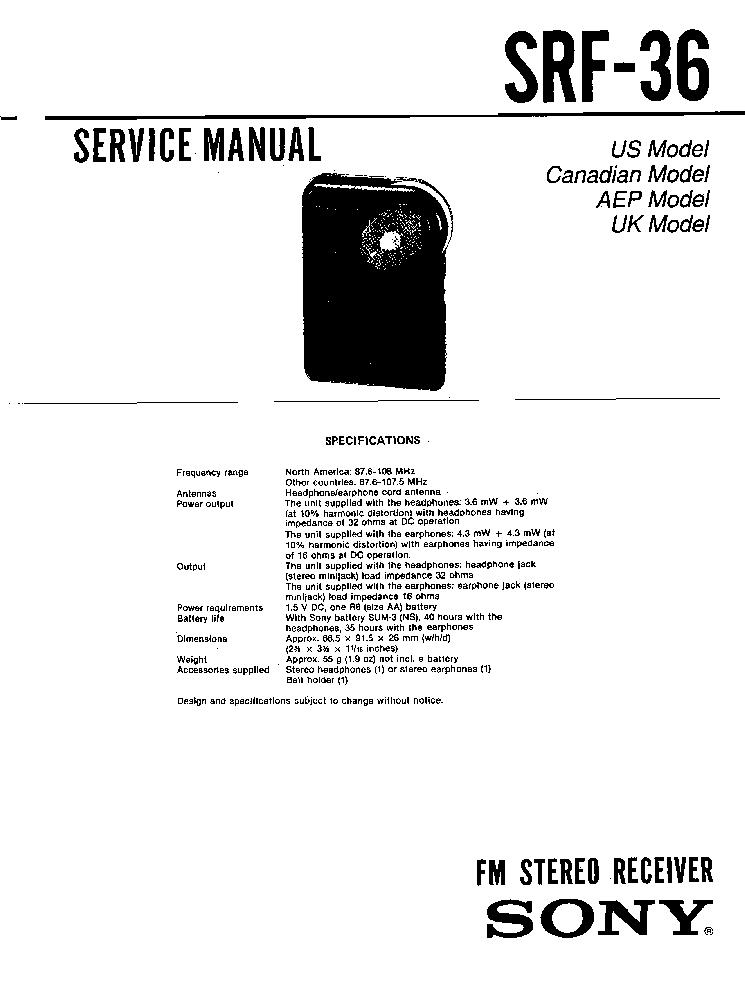 SONY SRF-36 Service Manual download, schematics, eeprom