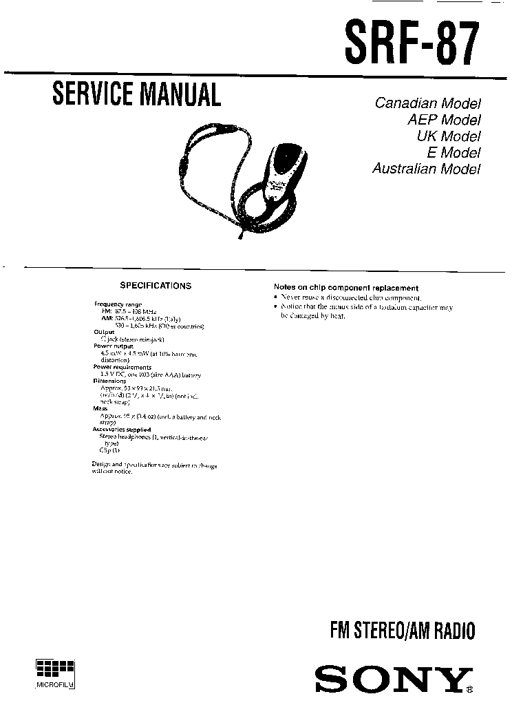 SONY SRF-87 SM Service Manual download, schematics, eeprom