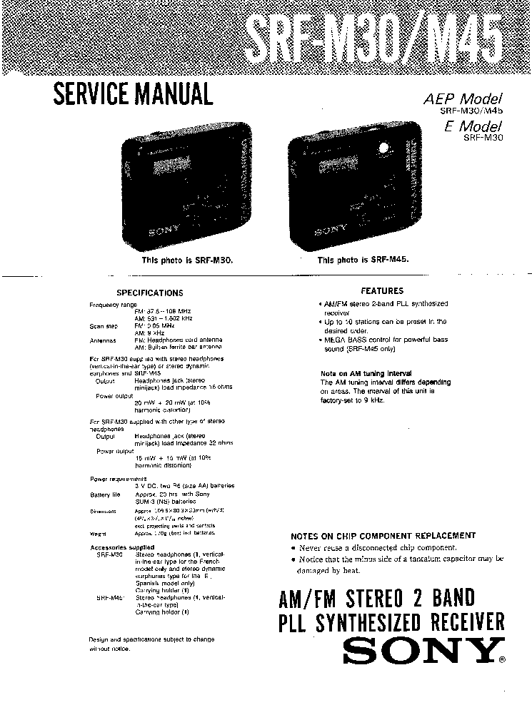 SONY SRF-M30 M45 Service Manual download, schematics