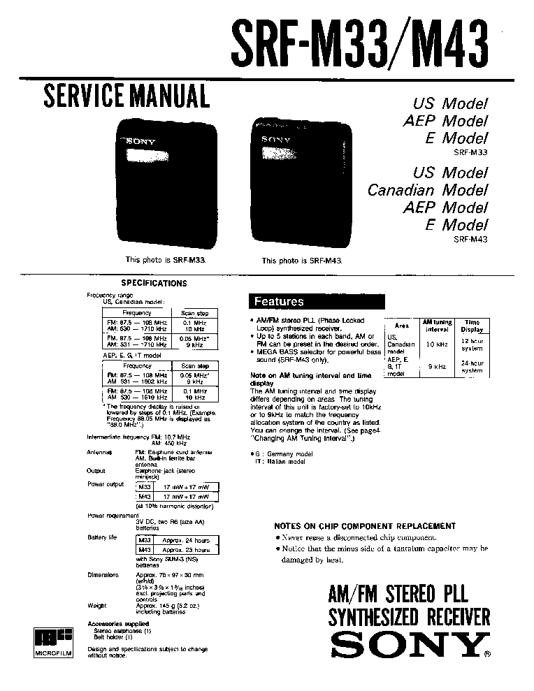 SONY SRF-M33 M43 Service Manual download, schematics