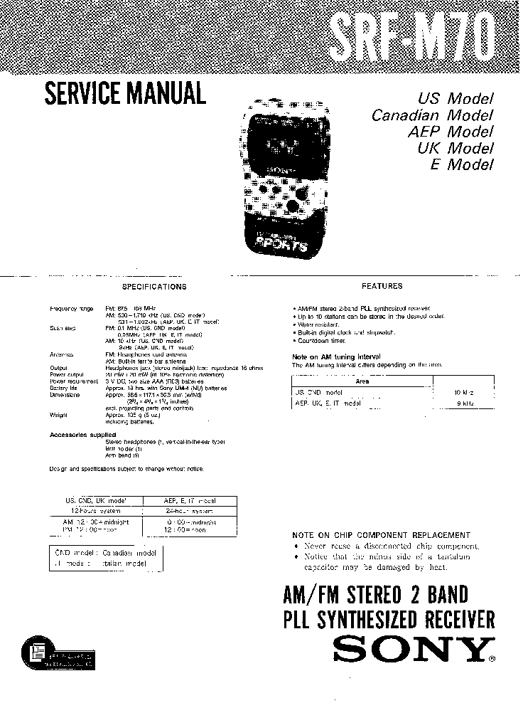 SONY SRF-M70 Service Manual download, schematics, eeprom