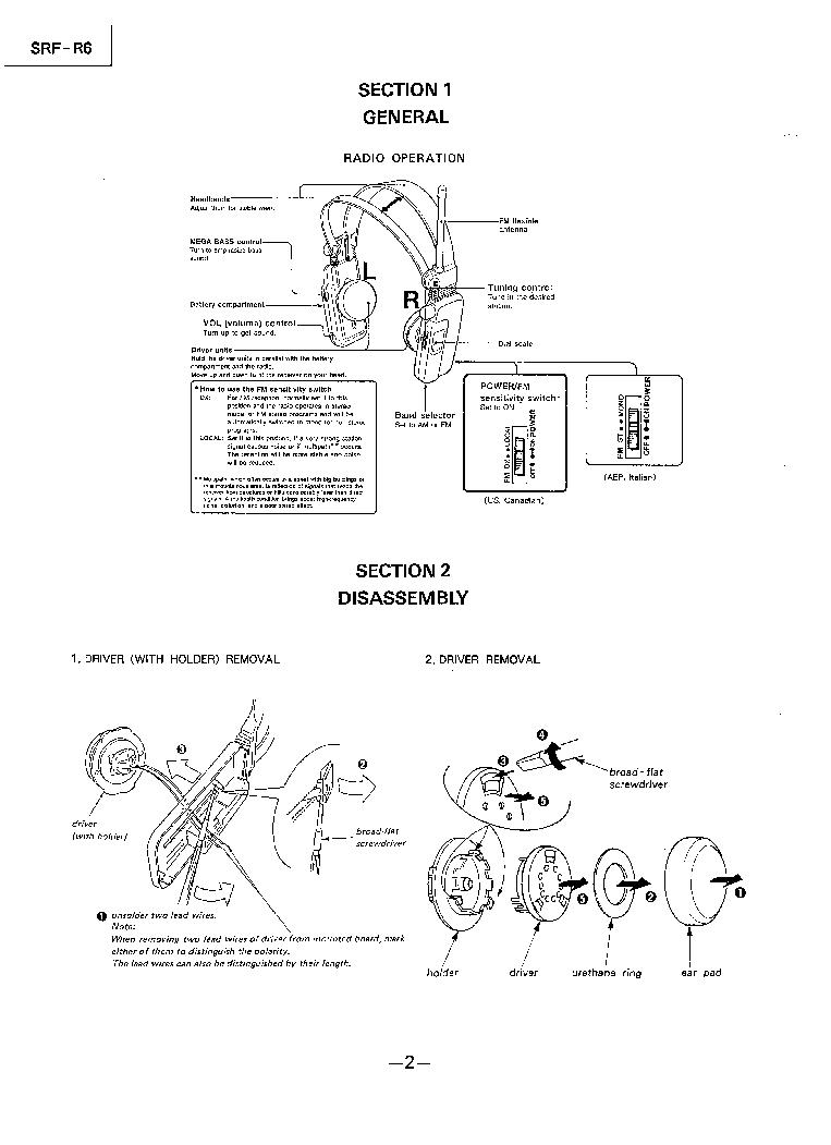SONY SRF-R6 Service Manual download, schematics, eeprom