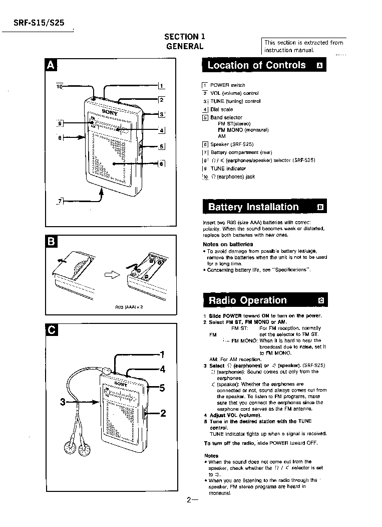 SONY SRF-S15 S25 Service Manual download, schematics