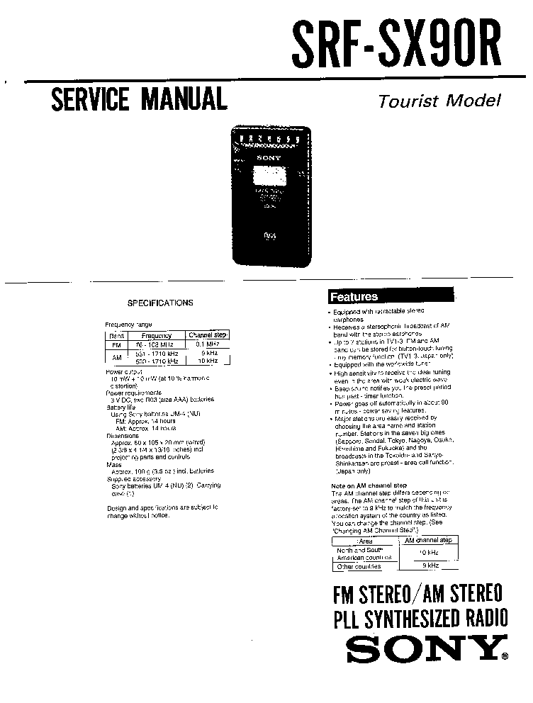 SONY SRF-SX90R Service Manual download, schematics, eeprom