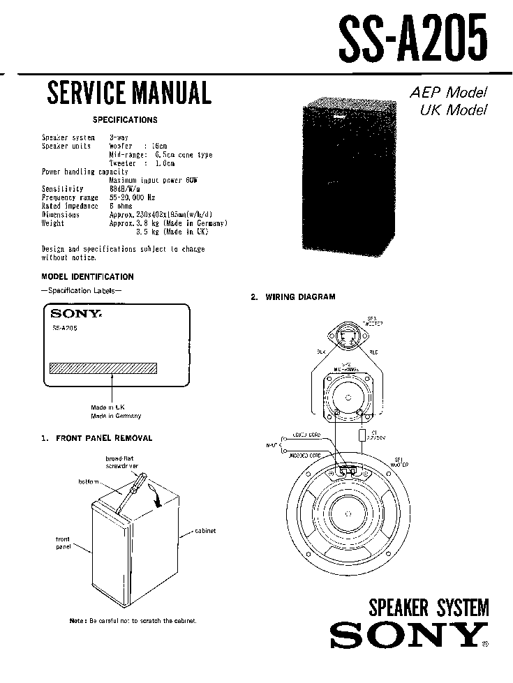 SONY SS-A205 Service Manual download, schematics, eeprom