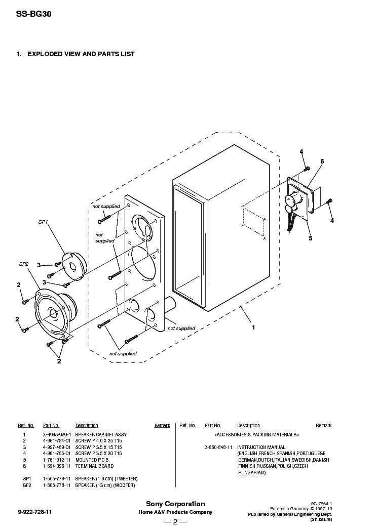 SONY SS-BG30 Service Manual download, schematics, eeprom