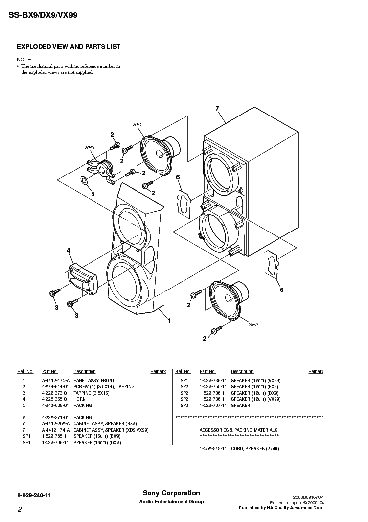 SONY SS-BX9 DX9 VX99 Service Manual download, schematics
