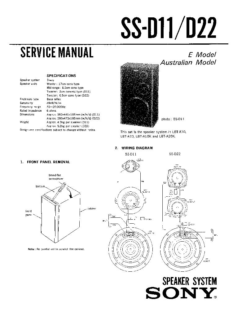 SONY SS-D11 SS-D22 Service Manual download, schematics