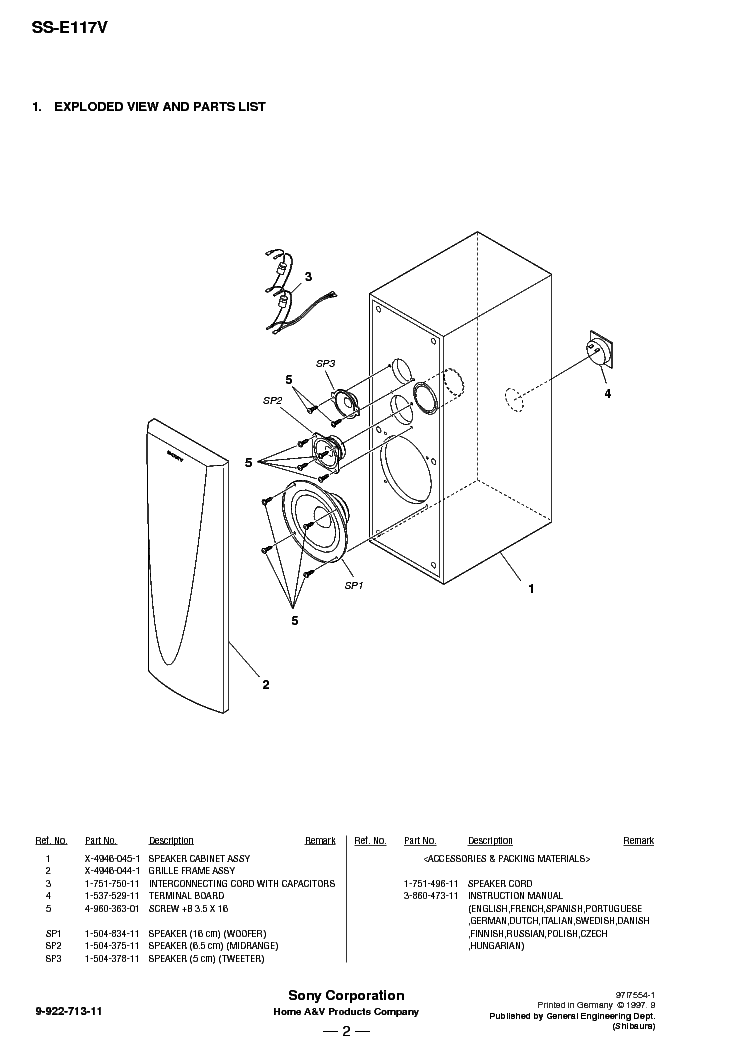 SONY SS-E117V Service Manual download, schematics, eeprom