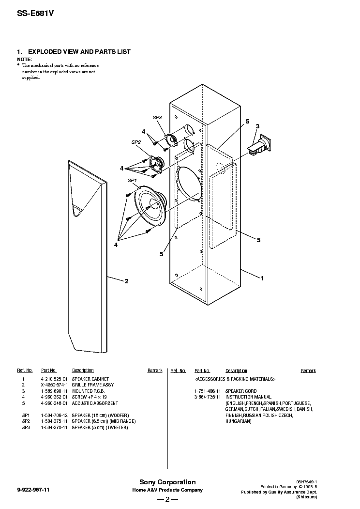 SONY SS-E681V Service Manual download, schematics, eeprom