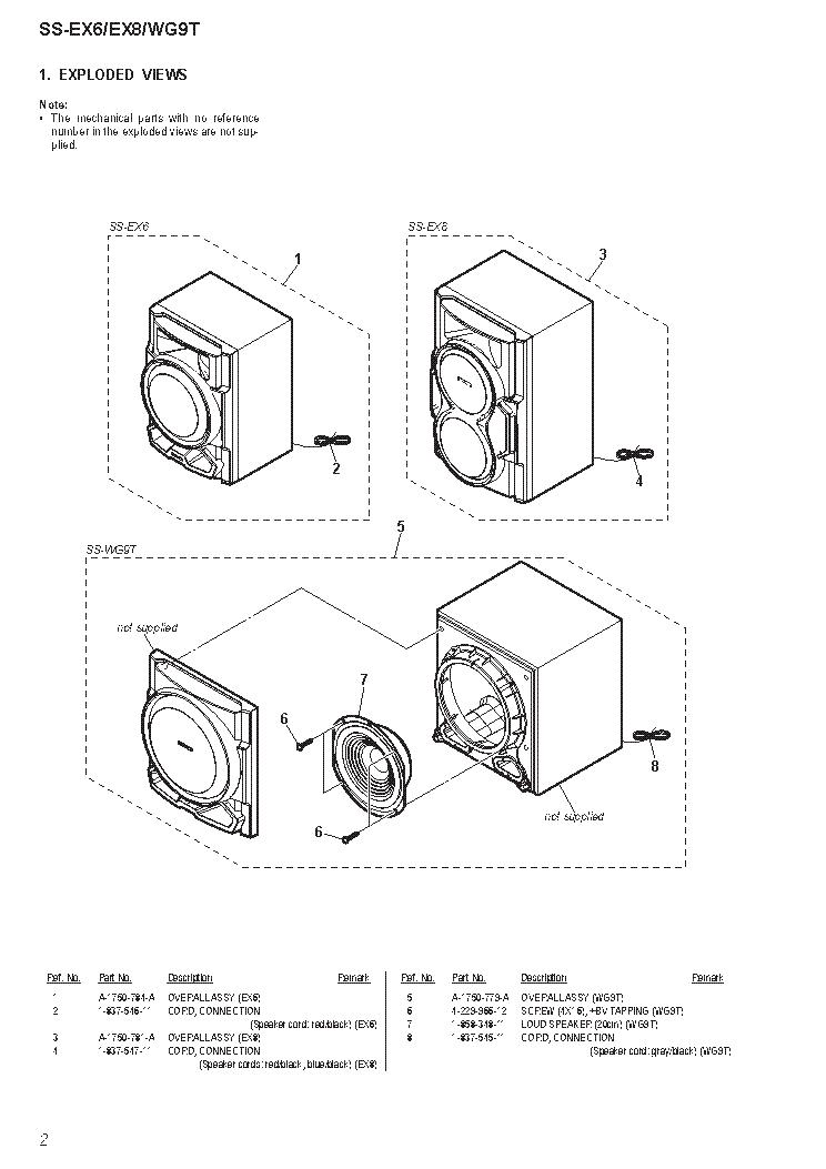 SONY SS-EX6 SS-EX8 SS-WG9T SPEAKER-SYSTEM Service Manual