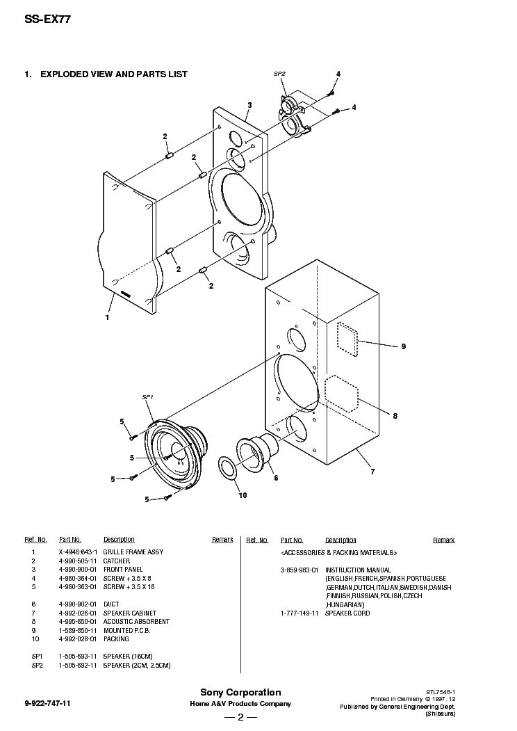SONY SS-EX77 Service Manual download, schematics, eeprom