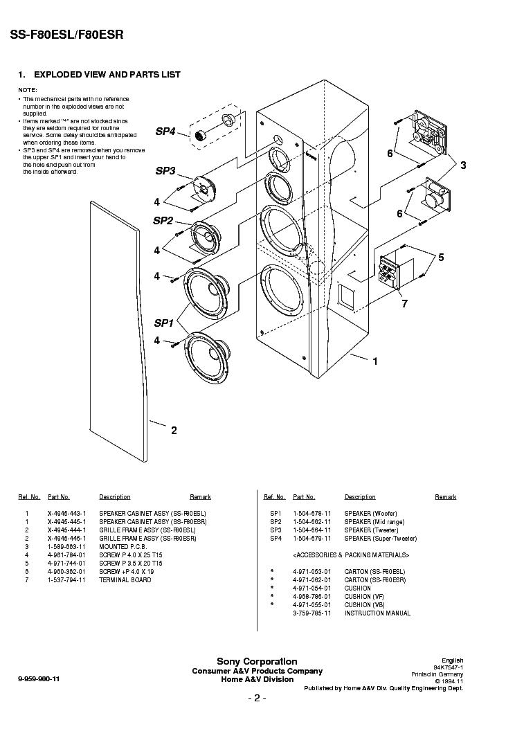 SONY SS-F80ESL F80ESR Service Manual download, schematics