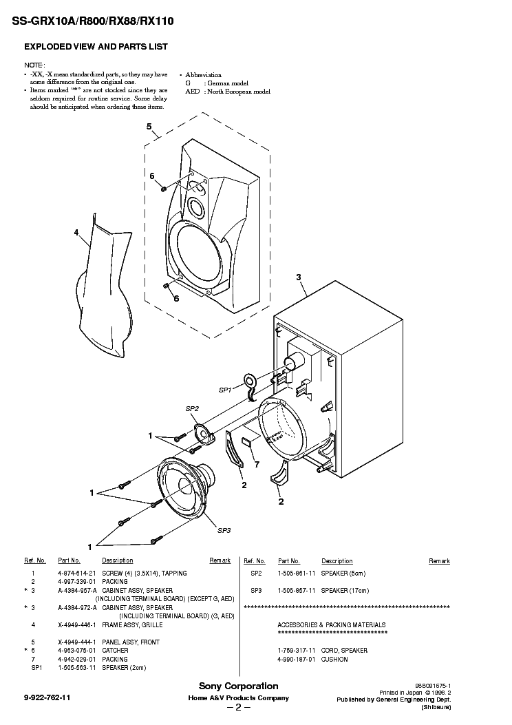 SONY SS-GRX10A Service Manual download, schematics, eeprom