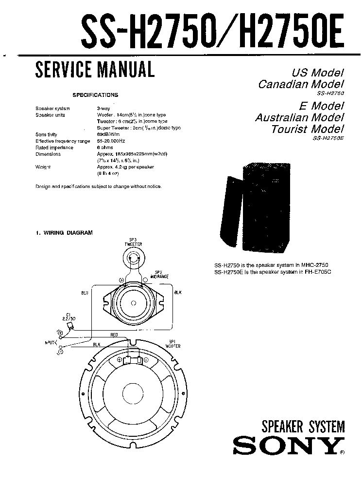 SONY SS-H2750 H2750E Service Manual download, schematics