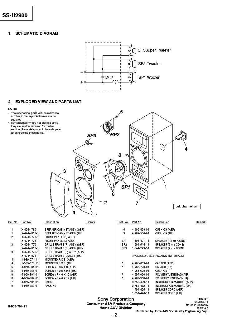 SONY SS-H2900 Service Manual download, schematics, eeprom