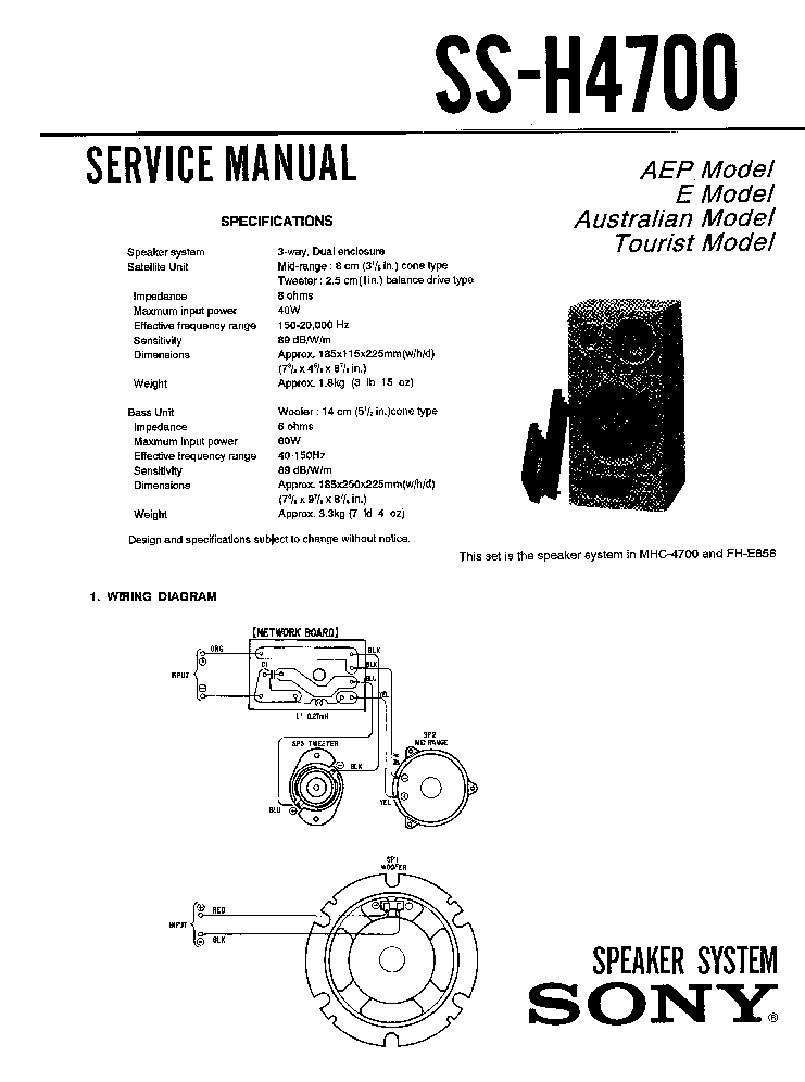 SONY SS-H4700 SM Service Manual download, schematics