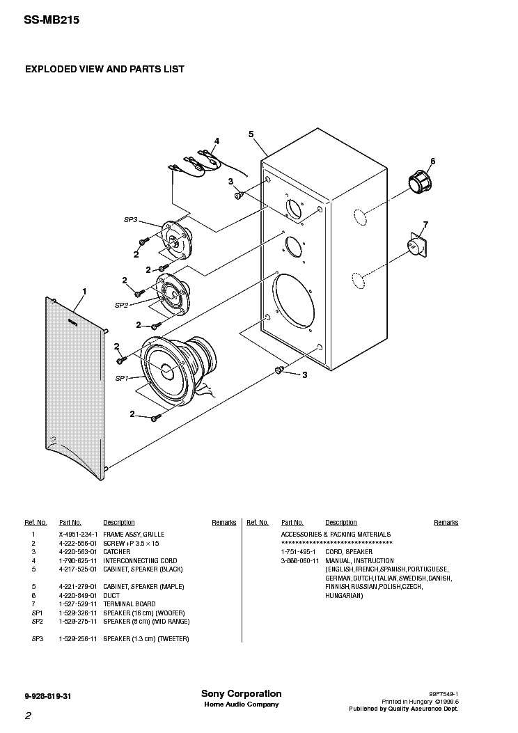 SONY SS-MB215 Service Manual download, schematics, eeprom