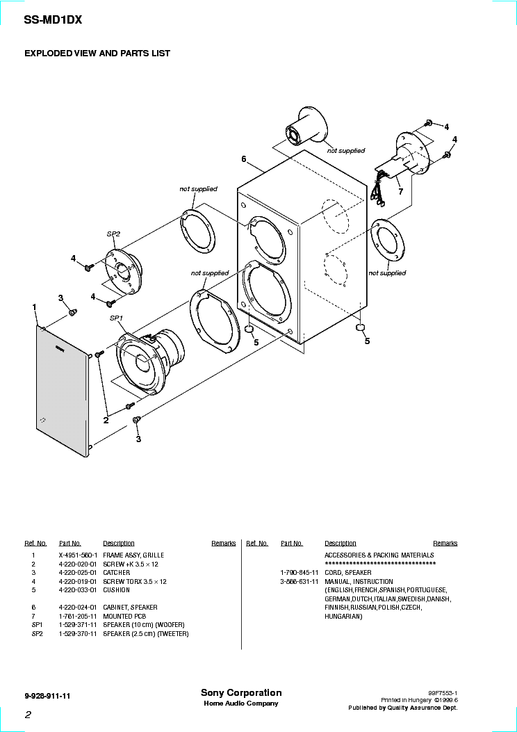 SONY SS-MD1DX Service Manual download, schematics, eeprom
