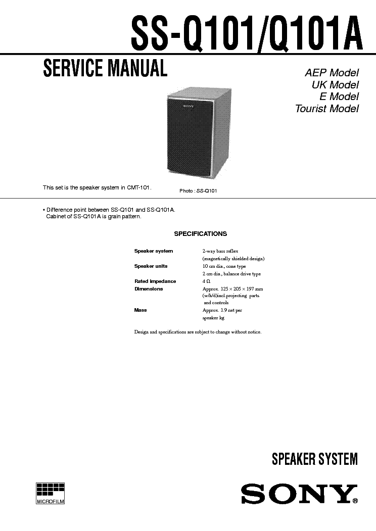 SONY TC-WA7ESA WE505 WE605 WE705 WR550 Service Manual