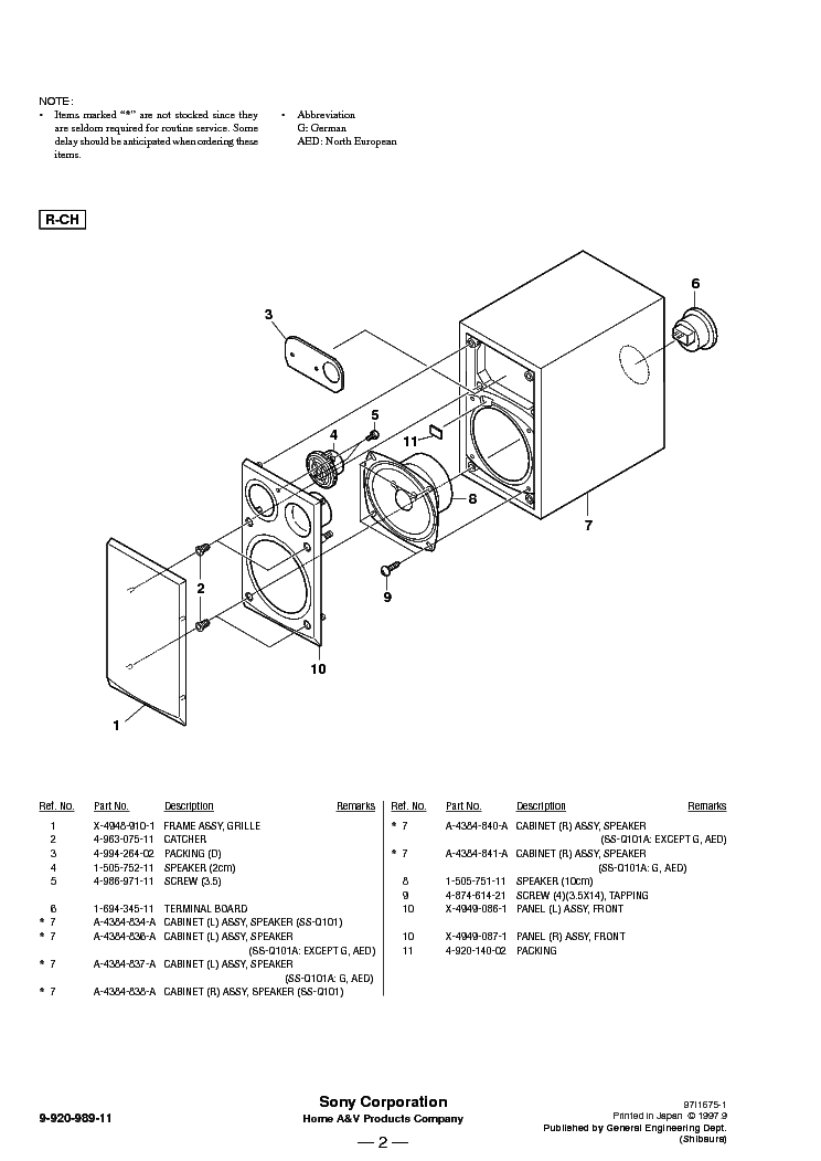 SONY SS-Q101 Q101A Service Manual download, schematics