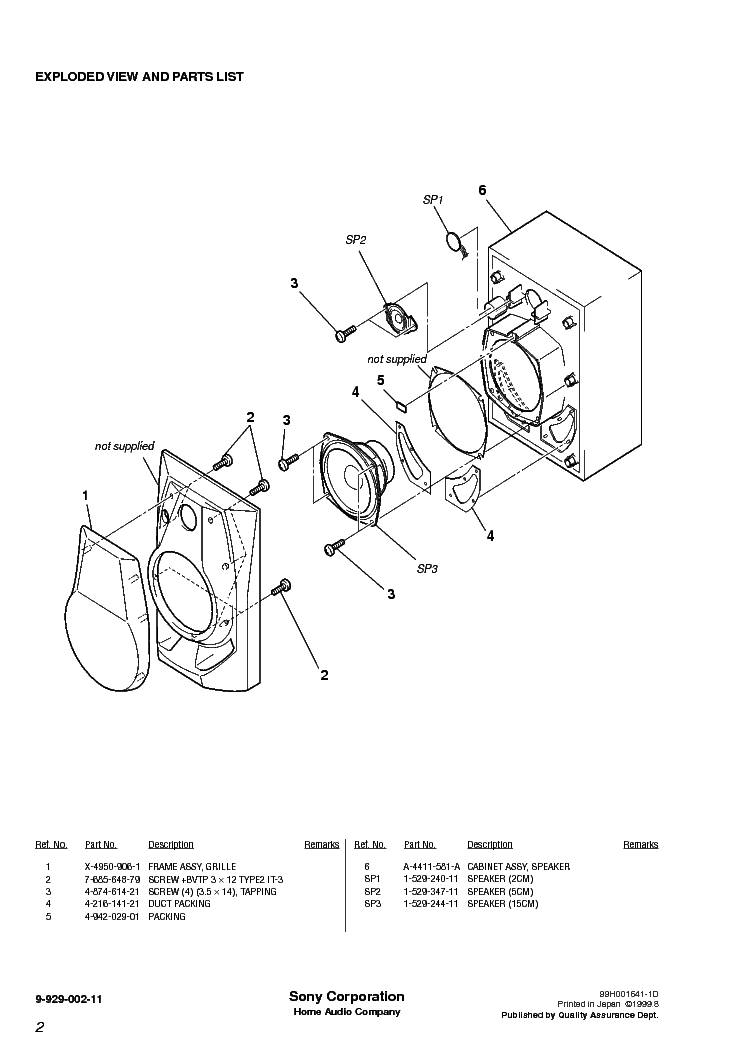 SONY SS-R440 Service Manual download, schematics, eeprom