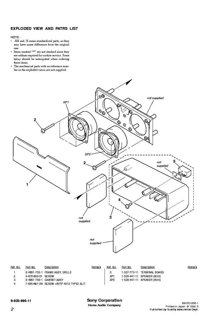 SONY SS-RC100 Service Manual download, schematics, eeprom
