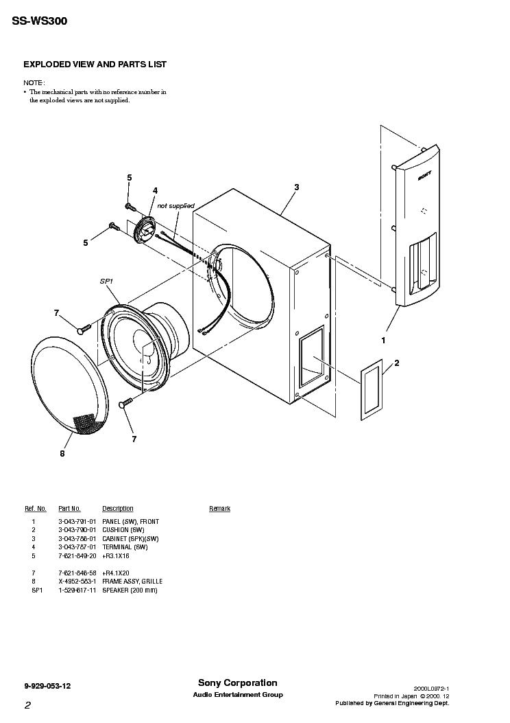 SONY SS-W300 Service Manual download, schematics, eeprom