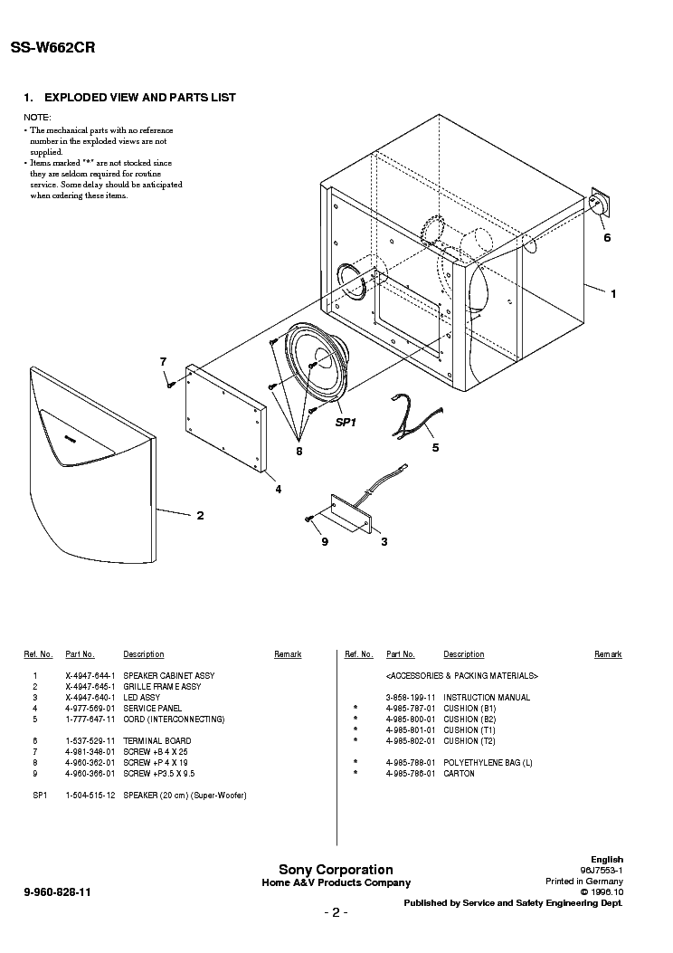 SONY SS-W662CR Service Manual download, schematics, eeprom