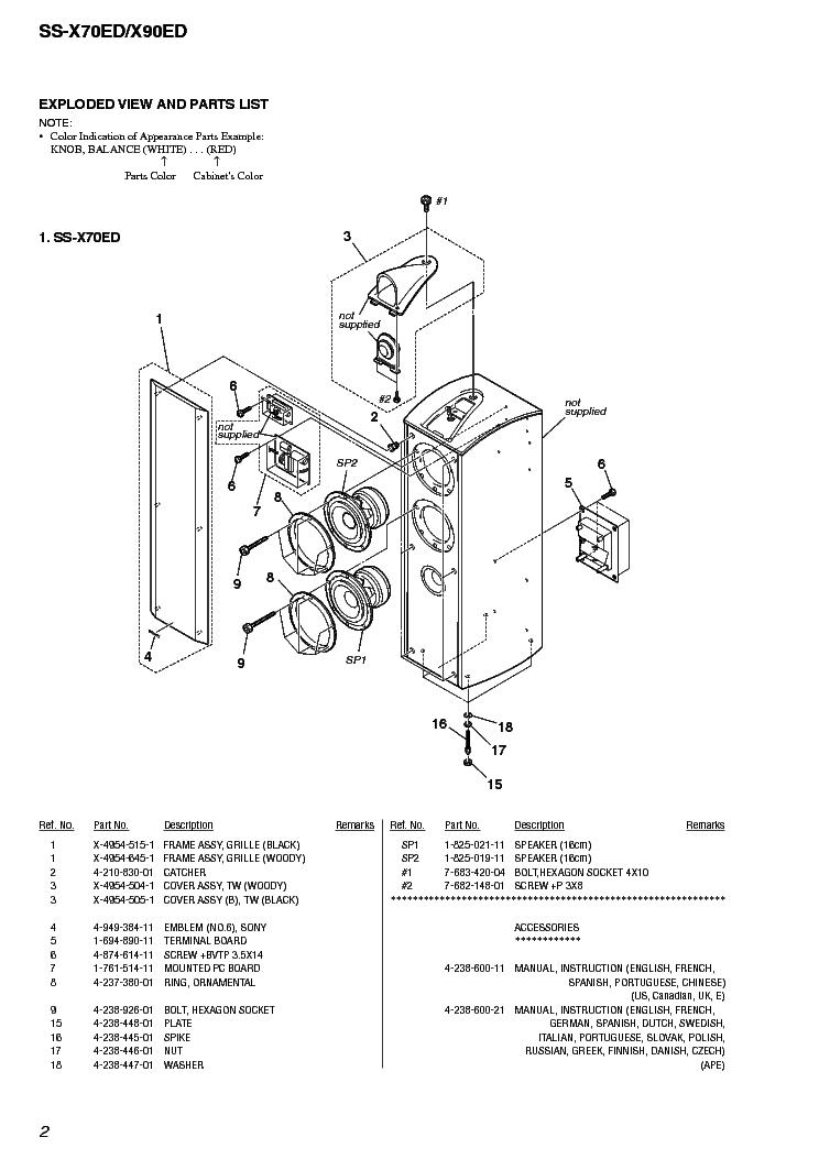 SONY SS-X70ED X90ED Service Manual download, schematics