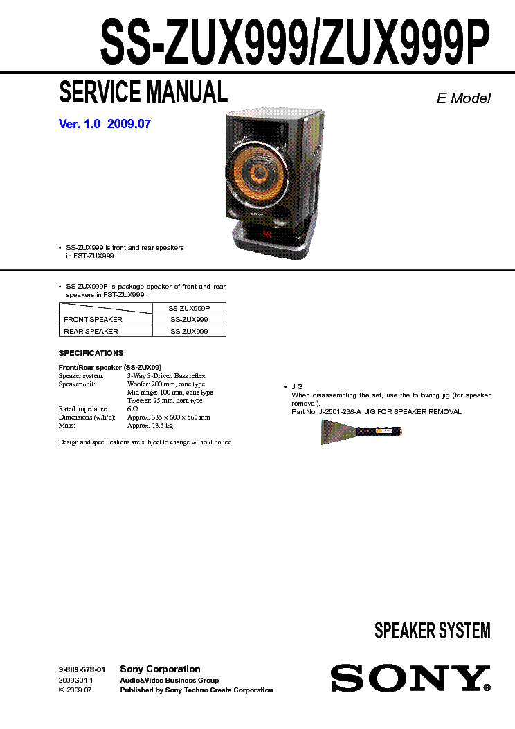 SONY SS-ZUX999-P- Service Manual download, schematics