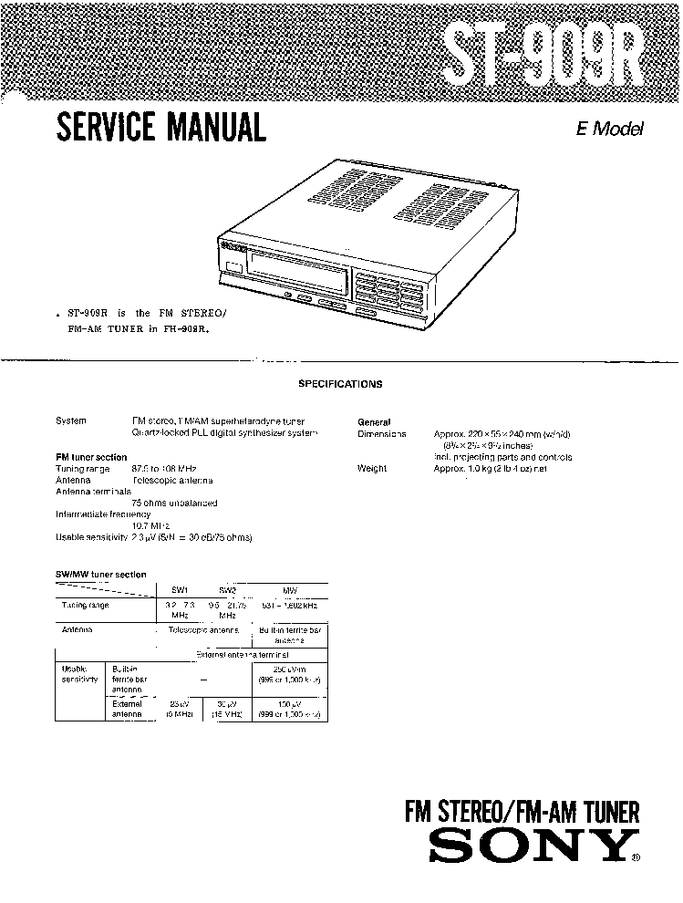 SONY HCD-EX1 VER-1.1 Service Manual download, schematics