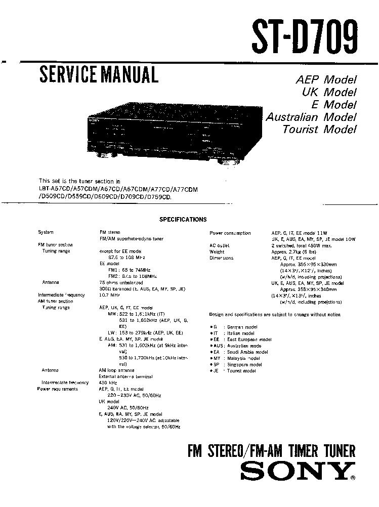 SONY ST-D709 SM Service Manual download, schematics