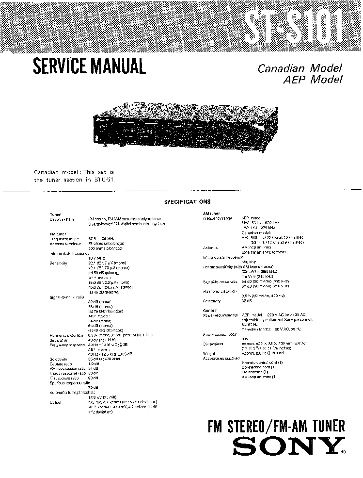 SONY ST-S101 STU-51 SM Service Manual download, schematics
