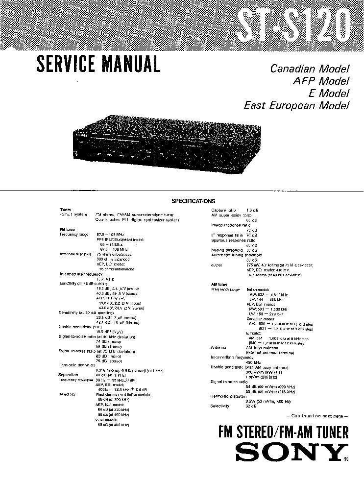 SONY ST-S120 SM Service Manual download, schematics