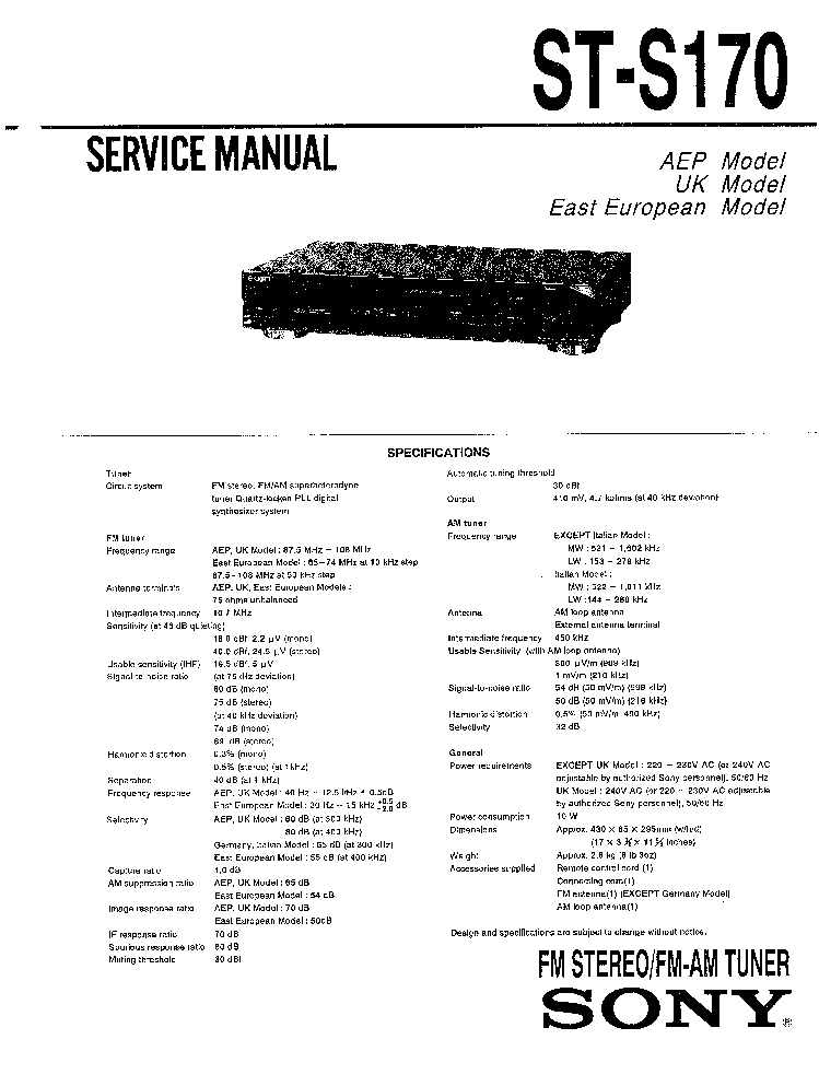 SONY ST-S170 SM Service Manual download, schematics