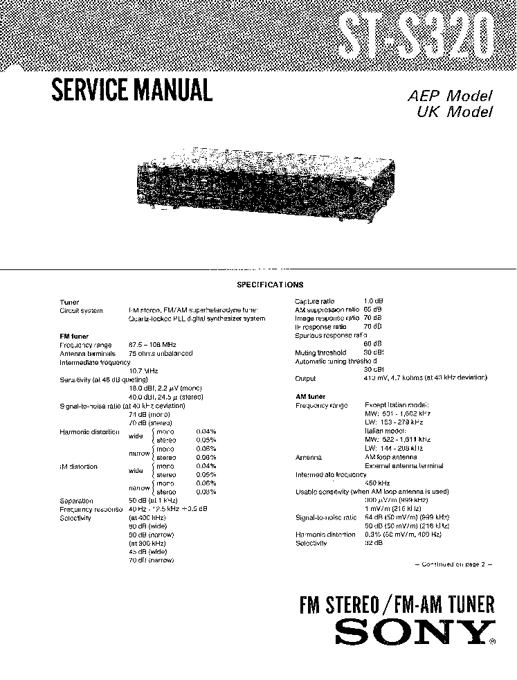 SONY ST-S320 SM Service Manual download, schematics
