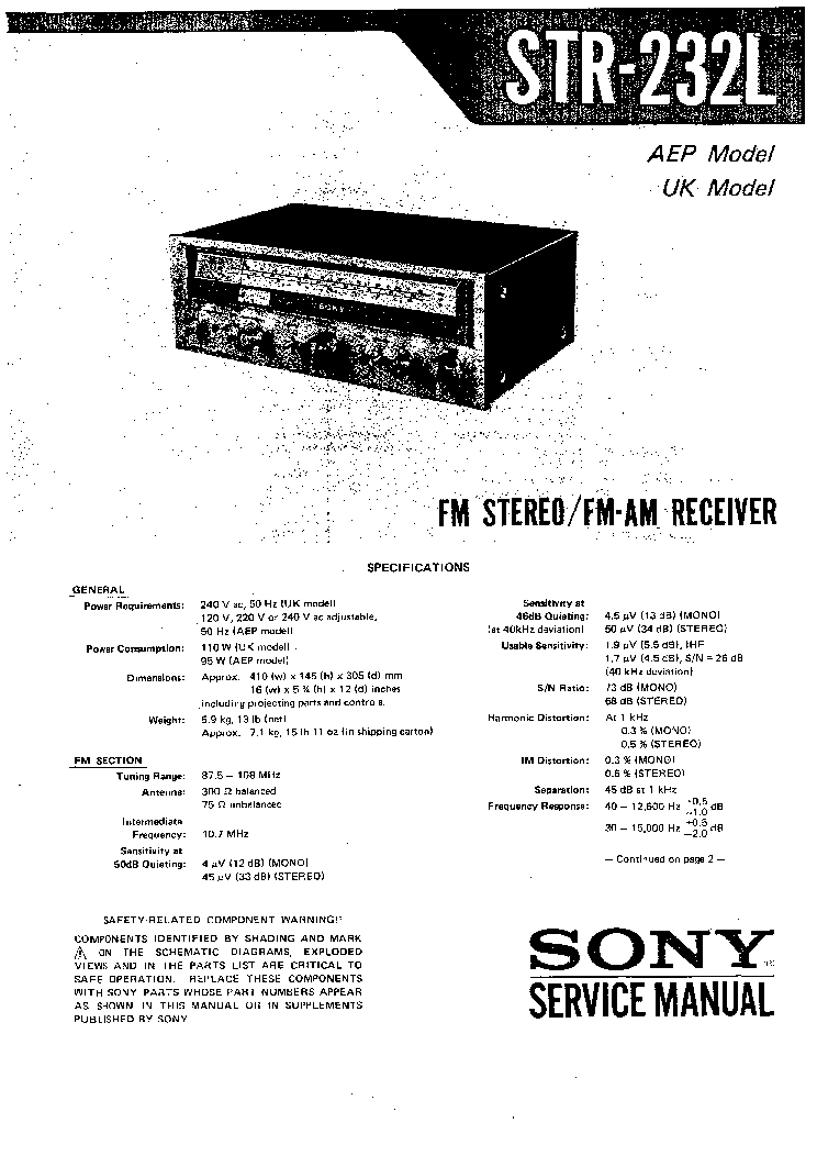 SONY STR-232L Service Manual download, schematics, eeprom