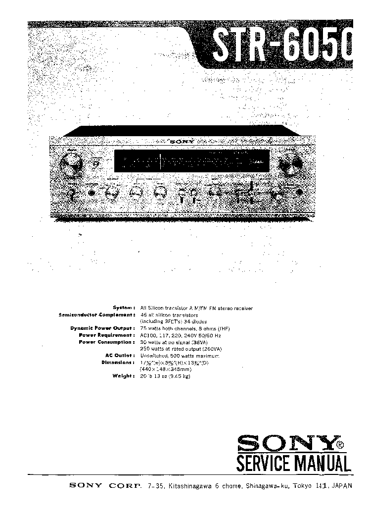 SONY STR-6050 RECEIVER Service Manual download, schematics