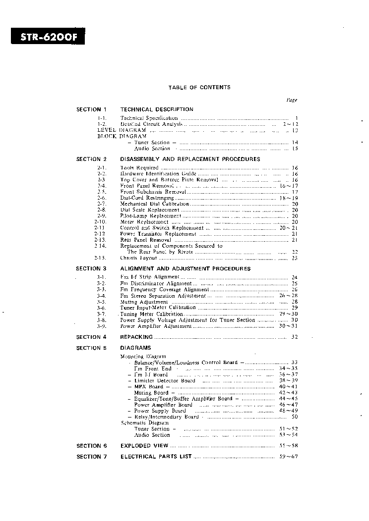 SONY STR-6200F Service Manual download, schematics, eeprom