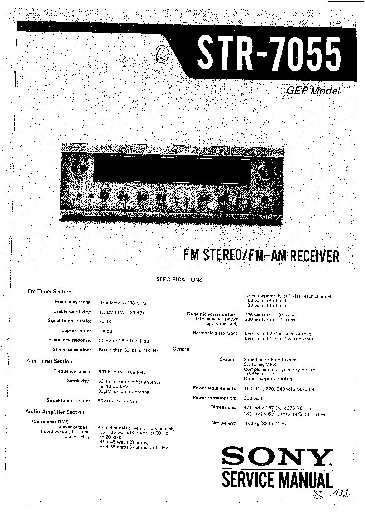 SONY STR-7055 Service Manual download, schematics, eeprom