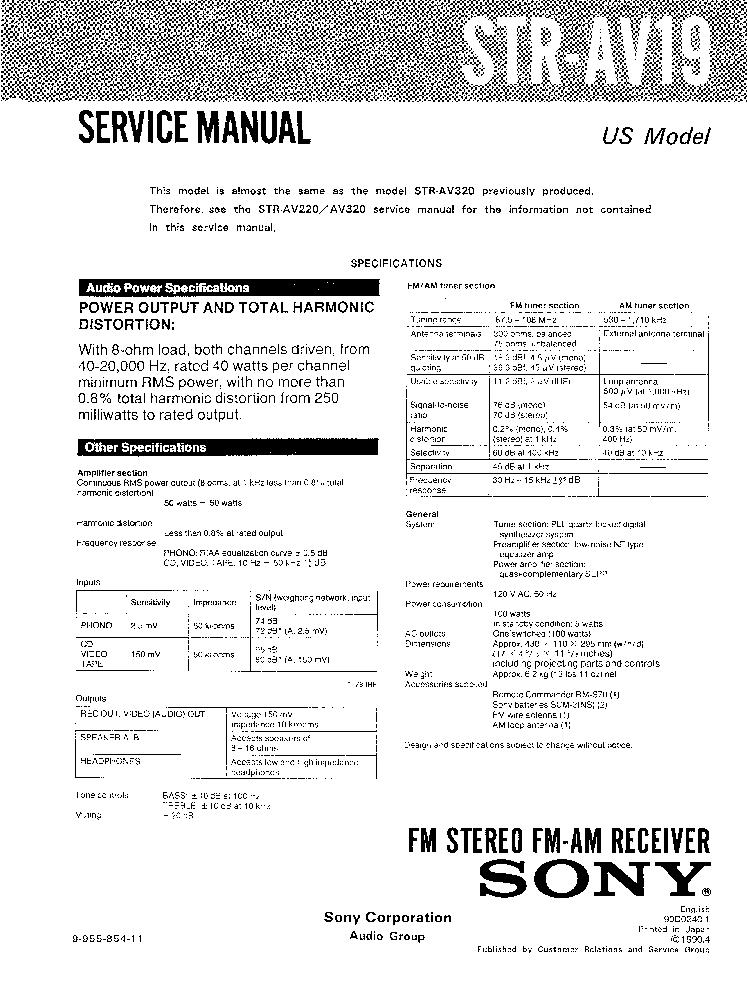 SONY STR-DA1200ES VER-1.1 SM Service Manual download